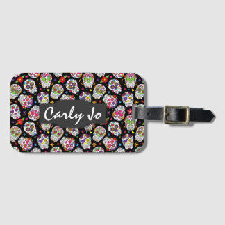 Colorful Sugar Skulls Personalized Luggage Tag