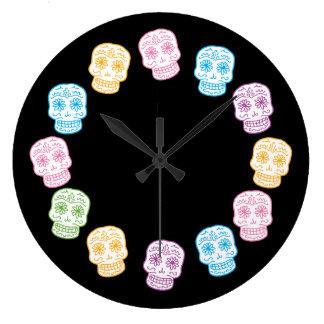Colorful Sugar Skulls Wallclock