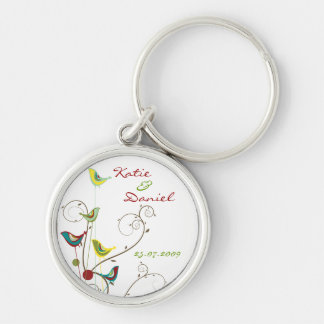 Colorful Summer Bird and Swirls Save-the-Date Silver-Colored Round Key Ring