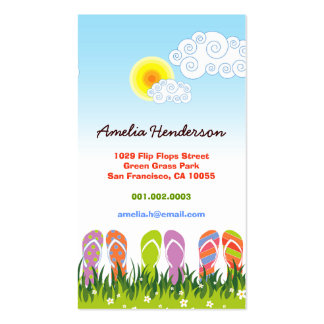 Colorful Summer Flip Flops Fun In The Sun Garden Business Card Templates