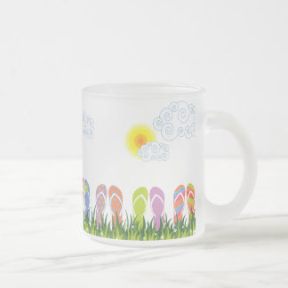 Colorful Summer Flip Flops Fun In The Sun Garden Frosted Glass Mug