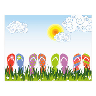 Colorful Summer Flip Flops Fun In The Sun Garden Post Cards