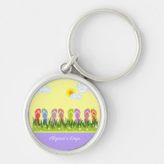 Colorful Summer Flip Flops Fun In The Sun Garden Silver-Colored Round Key Ring