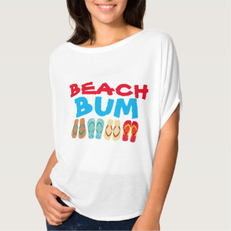 Colorful Summer Flip Flops White Beach Bum T T-Shirt