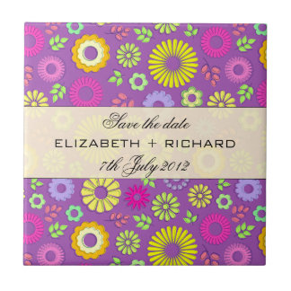 """Colorful summer floral """"Save the date"""" Tile"""