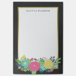 Colorful Summer Flowers & Faux Gold Custom Name Post-it Notes