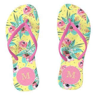 Colorful Summer Flowers Monogram Yellow Flip Flops