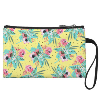 Colorful Summer Flowers - Yellow Mini Clutch Wristlet Clutch