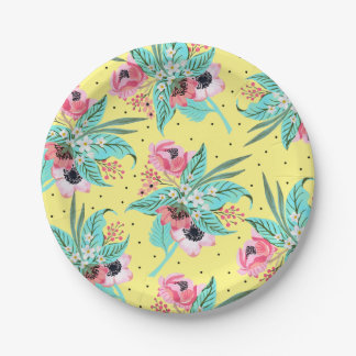 Colorful Summer Flowers Yellow Paper Plate