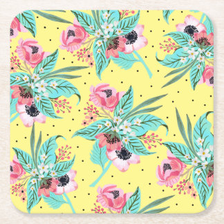 Colorful Summer Flowers Yellow Square Coaster