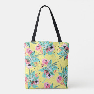 Colorful Summer Flowers Yellow Tote Bag