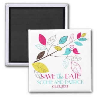 Colorful Summer Lovebirds Save the Date Magnet