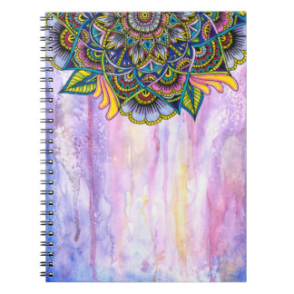 Colorful Summer Mandala w/ Watercolor Backdrop Notebook