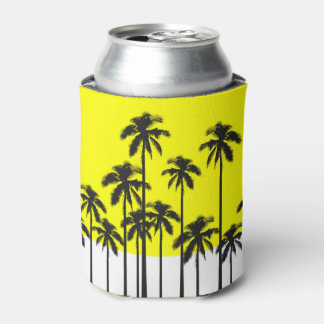 Colorful Summer Neon Yellow & Tropical Palm Trees Can Cooler
