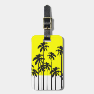 Colorful Summer Neon Yellow & Tropical Palm Trees Luggage Tag
