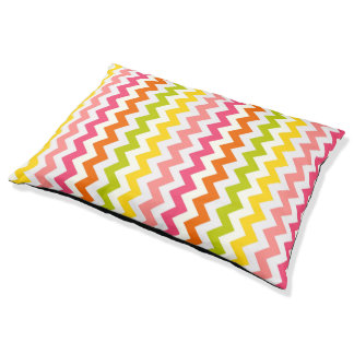 Colorful Summer Pastel Chevron Pattern Dog Bed