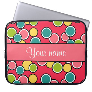 Colorful Summer Polka Dots Personalized Laptop Sleeve