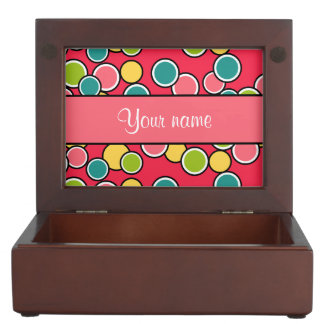Colorful Summer Polka Dots Personalized Memory Box