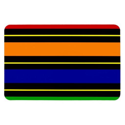 Colorful Summer Striped Pattern Red Orange Blue Gr Rectangle Magnets