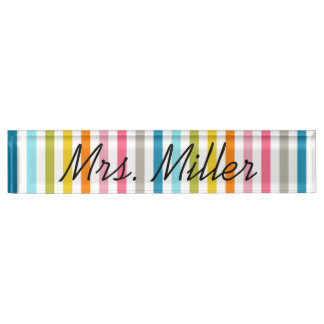 Colorful Summer Stripes Desk Nameplate