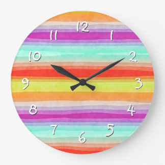 Colorful Summertime Watercolor Stripes Pattern Large Clock