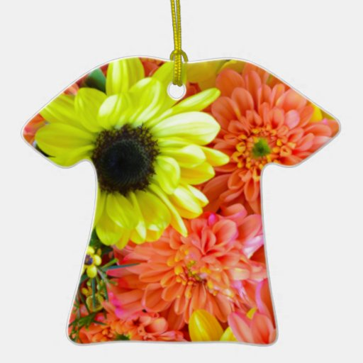 Colorful sunflowers and dahlias floral bouquet ornaments
