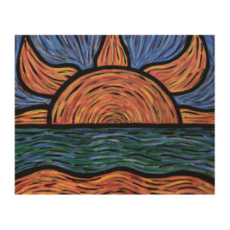 Colorful Sunset Abstract Colors In Motion Wood Wall Art