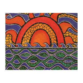 Colorful Sunset Abstract Ocean Painting Wood Wall Decor
