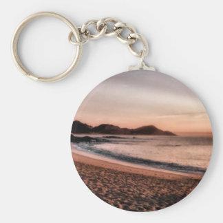 Colorful Sunset Basic Round Button Key Ring