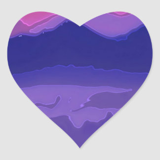 Colorful Sunset Heart Sticker