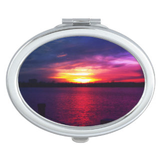 Colorful sunset print women's compact mirror