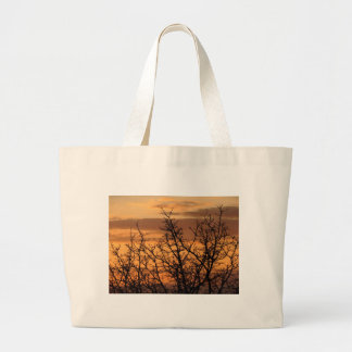 Colorful Sunset with tree silhouette Large Tote Bag