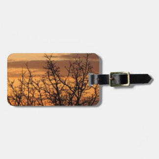 Colorful Sunset with tree silhouette Luggage Tag