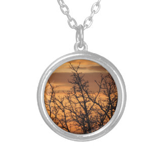 Colorful Sunset with tree silhouette Silver Plated Necklace