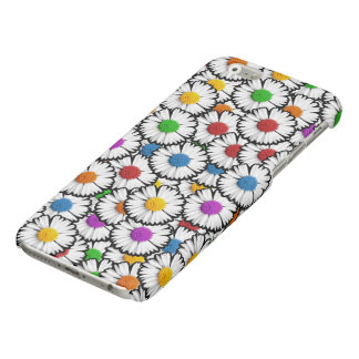 Colorful super-imposed daisies in various colors.
