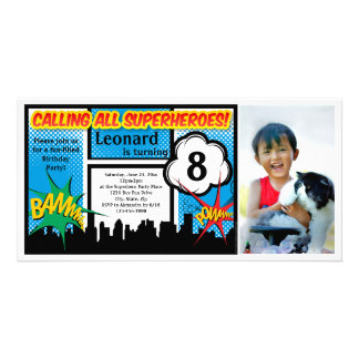 Colorful Superhero Comic Boy's Birthday Party Customised Photo Card