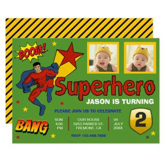 Colorful Superhero Kids Photo Birthday Invitation