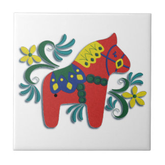 Colorful Swedish Dala Horse Right Facing Small Square Tile