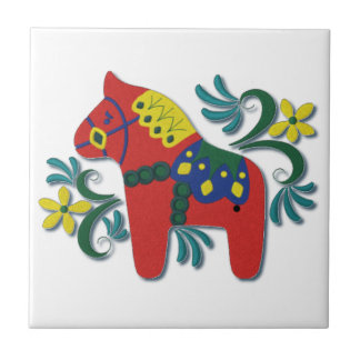 Colorful Swedish Dala Horse Scandinavian Small Square Tile