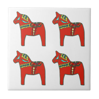 Colorful Swedish Dala Horses Scandinavian Small Square Tile