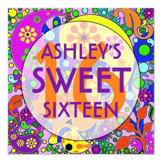 Colorful Sweet 16 Birthday Party Invitations
