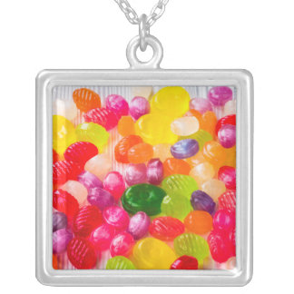 Colorful Sweet Candies Food Lollipop Silver Plated Necklace
