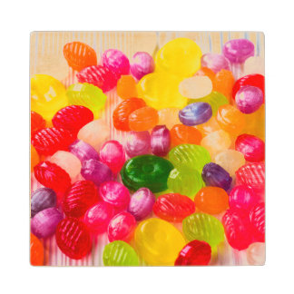 Colorful Sweet Candies Food Lollipop Wood Coaster