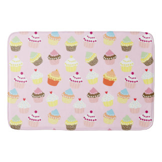 Colorful Sweet Cupcakes Pattern Bath Mat