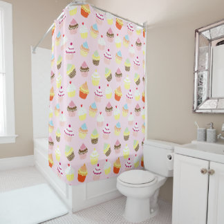 Colorful Sweet Cupcakes Pattern Shower Curtain