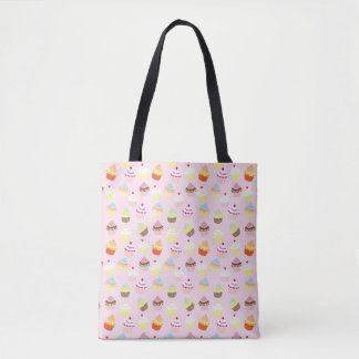 Colorful Sweet Cupcakes Pattern Tote Bag