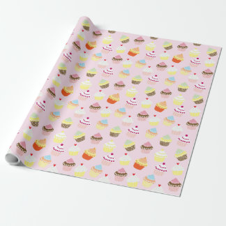 Colorful Sweet Cupcakes Pattern Wrapping Paper