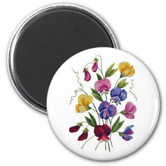 Colorful Sweet Peas Embroidered 6 Cm Round Magnet
