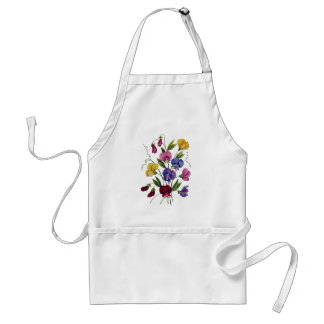Colorful Sweet Peas Embroidered Adult Apron