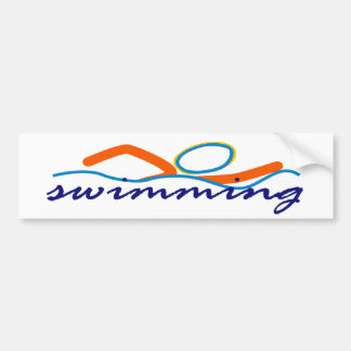Colorful Swim Symbol Bumper Sticker
